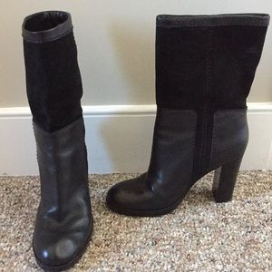 Nine West Black Leather & Suede Boots